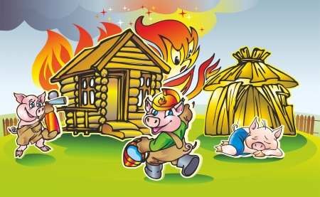 pair of two pigs  extinguish a fire in a wooden house in the bungalow sleeps third hut Illustration