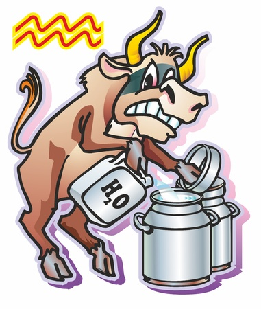 bull ox calf  pours water milk cans jerry can a symbol a sign of the zodiac Aquarius Illustration