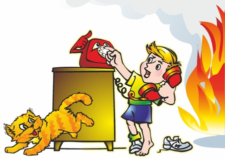 baby boy student calls phone dressing table bedside table cat fire flame smoke Stock Vector - 17530712