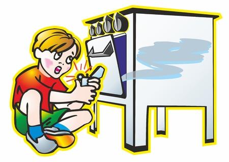 gas stove: baby boy schoolboy lights lighter gas gas stove oven, furnace spark