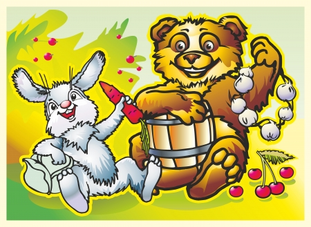 hare and bear gay eating vegetarian food garlic cabbage carrots cherry currant honey out of the barrel Illustration