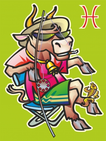 ox bull fishing chair chaise lounge spinning fishing rod fish catch hat sunglasses a bell a cigarette