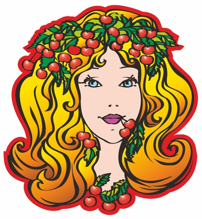 cherry, lady, leaves, face, female, girl, head Illustration