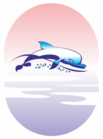 dolphin, jellyfish, wave, sea, sun, water, jump, somersault, tentacles, fins