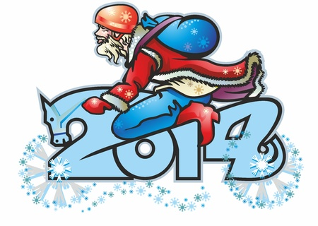 santa claus biker biker on the 2014 figure of digit symbol of the horse s head with a beard wearing a helmet bag helmet bag of sheepskin boots