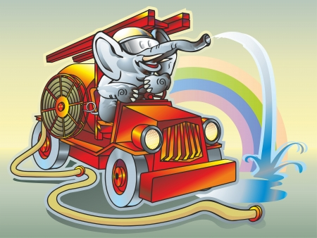 Elephant in the helmet firefighter driving a fire truck pours water trunk hose hose hose puddle rainbow