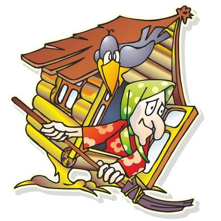 kopftuch: M�rchen Hexe Hexe mit Besen mit Kopftuch in der Holzh�tte shack Haus sitzt Crow Illustration