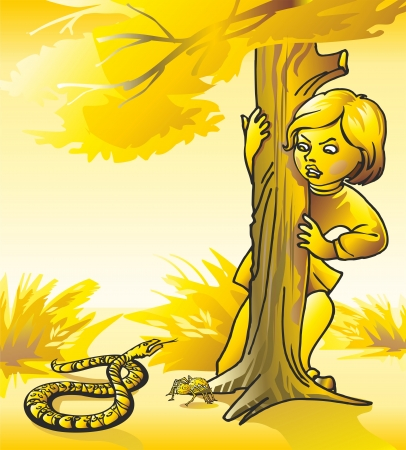 baby girl by a tree bush leaves comaasp viper snake too spider tarantula; Illustration