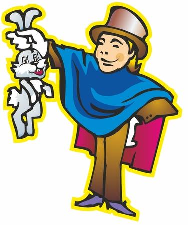 poncho: hombre individuo joven mago fuego mago en un poncho sombrero cilindros mantiene los o�dos del conejito del conejo s