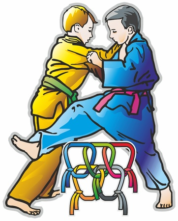 couple fight: couple kids junior athletes are duel; sparring; battle, judo, combat, karate, kung fu, conducts sweeps reception in a kimono with a belt