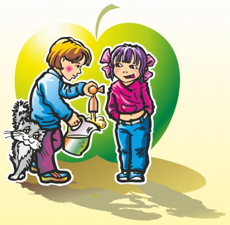 children boy girl drink apple juice drink cider from a tap near the decanter cat Illustration