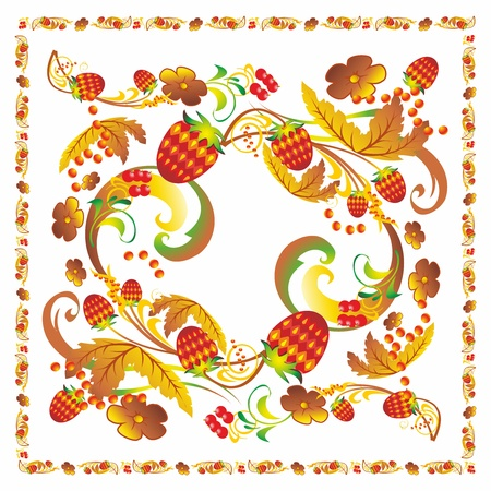 khokhloma style ornament pattern tablecloth berries strawberry leaves strawberries currants Illustration