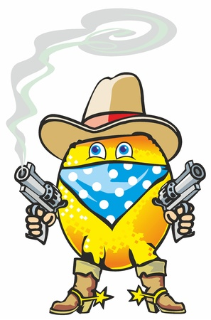 citrus lemon in the form of a burglar thief cowboy hat with pistols in boots with spurs