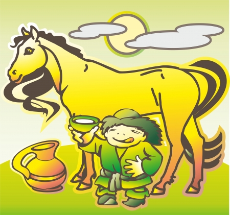 baby hun mongol offers horse mare milk into a bowl of pot