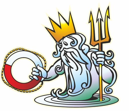 Neptune Poseidon god crown crown tiara a trident a beard a mustache a lifeline and water Illustration