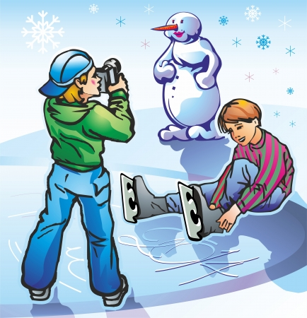 young teens boys boys at the rink in the winter photographed shoot snowman snowflakes