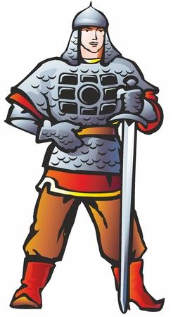 warrior knight warrior coat sword armor belt chain armor boots gloves mittens Gloves Illustration