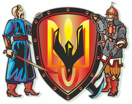 soldiers heroes fighters hold a shield with the symbol of an attacker armed with ax ax falcon sword gun helmet boots Illustration