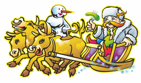 male fellow reveler male sledding on heifers cows females Illustration