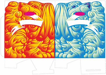 pattern paper carton spaniel dog longhair blue red ribbon for an inscription Stock Vector - 17530789