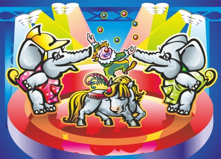 two elephants and pony clown juggling balls in the arena in the spotlight spotlights