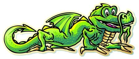 dragon lizard green winged mythical creature symbol of oriental calendar Illustration