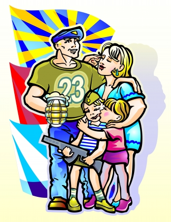 military girl: veterans family wife children boy girl celebrating military holiday february 23 sister congratulates brother with a kiss