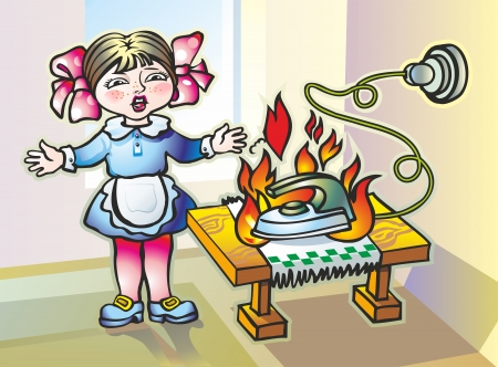 baby girl abandoned in a panic vhlyuchenny iron seared tablecloth provoked opastnost fire