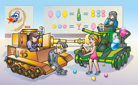 Kids play in replica world war 2 tanks Illustration