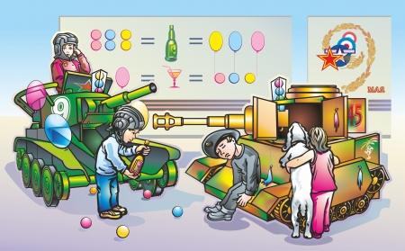 Kids play in replica world war 2 tanks Illustration