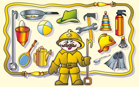sprinkling: with a mustache man fireman recalls what subjects on wall of his its  professions Illustration