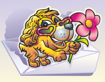 puppy bespectacled in form heart presents rose flower