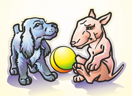 pets spaniel puppies black and piebald bull terrier playing ball Illustration