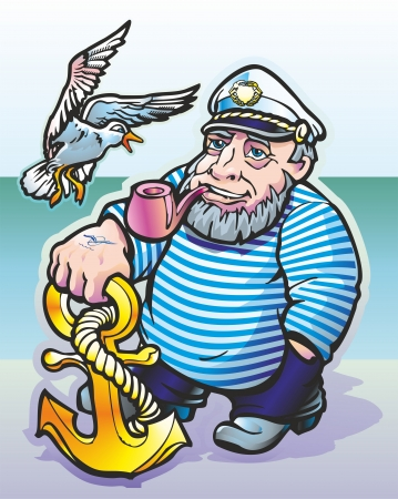 a man standing on the bank of a sailor smoking a pipe looking at the seagull flies