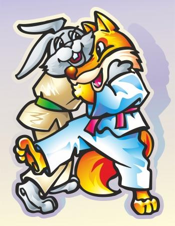 animals wrestlers hare in beige and blue fox in kimono lead the fight Illustration