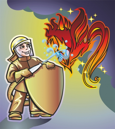 young guy firefighter directs a jet of water from a hose at the flames in the form of a red rooster Illustration