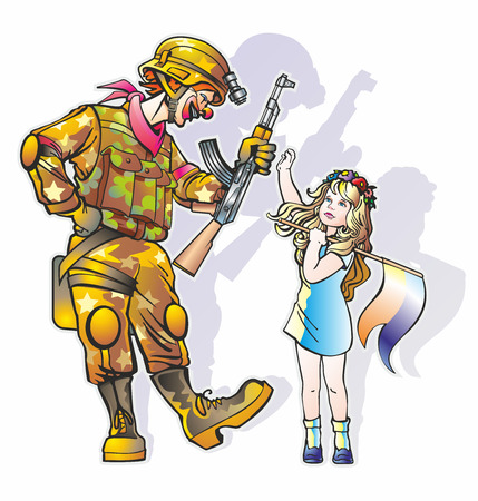 couple people clown man in camouflage with machine gun and a girl in a wreath of flowers with a flag Illustration