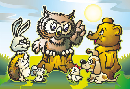 beasts of the forest hedgehog mouse hare bear and chick on a meadow near the hemp listen owl Illustration