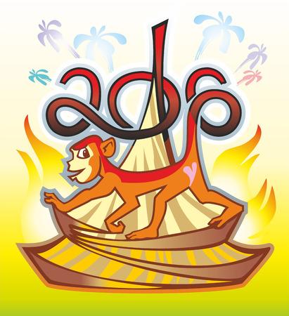 animal primate monkey 2016 red flame burns salute Christmas tree hut
