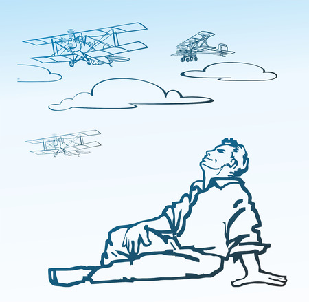 dreamer: People dreamer pilot looking to the sky on the retro biplane aircraft in the clouds