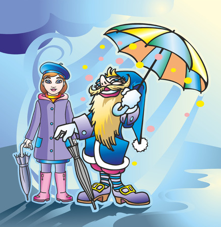 a couple of people and a magician girl under a colored umbrella after the rain Illustration