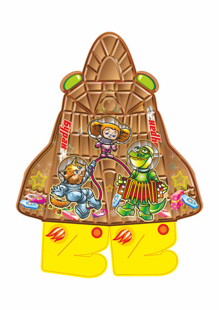 half baula gift in the form of chocolate blizzard rocket with astronauts cat, crocodile, monkey, bear, girl, lemurs Illustration
