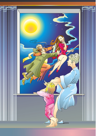 mother with her baby at a window in the sky, two men flirting with a woman on a broomstick