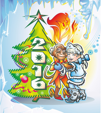 animal primate monkey with a fire and a girl Snow Maiden dancing at the Christmas tree with the date 2016