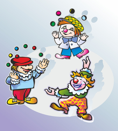three people artists clowns juggling balls balls in the circus Illustration