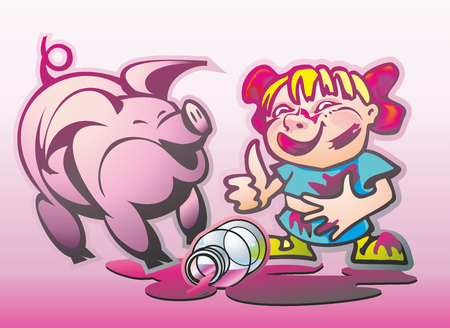 Smeared with jam girl in Banter and a pig in a puddle from a broken banks Illustration
