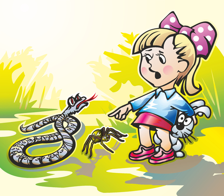Baby girl with a bow on a glade hare hides from snake and spider Illustration
