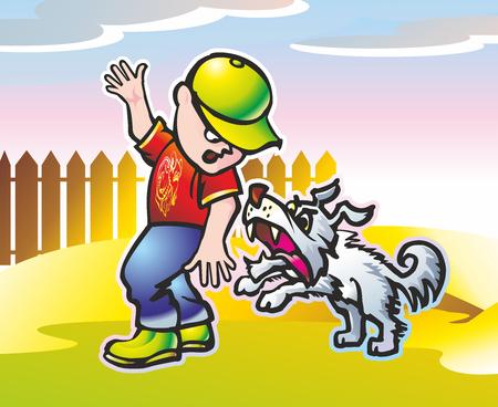 長髪の怒っている犬からフェンスに沿って実行しているキャップの男の子 写真素材 - 76062647