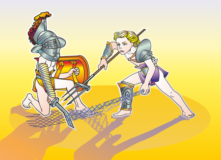 Two boys of boys in the armor of the gladiators of the Thracian and the Retirees fight in the sand