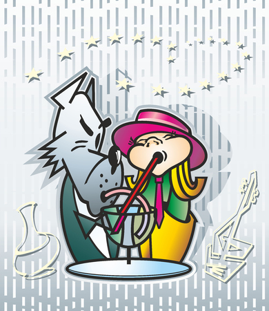Two girls in a red hat and a gray wolf in a suit drink through straws from a glass of a vessel
